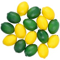 CEWOR 16pcs Fake Fruit Lifelike Lemons Simulation Lemon Artificial Fruit Decorations for Home House Kitchen Party Decoration ( Green and Yellow )