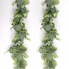 CEWOR 2 Pack 5.5ft Artificial Silver Dollar Eucalyptus Garland Faux Greenery Hanging Plants Boxwood Vines for Indoor Outdoor Home Wedding Party Centerpieces Decoration