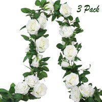 CEWOR 4pcs 26.2ft Artificial Rose Garland Fake Silk Flower Hanging Vine for Wedding Party Home Wall Garden Hotel Outdoor Decor ( White )