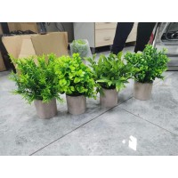 CEWOR 4 Packs Artificial Mini Potted Plants Fake Greenery Eucalyptus Rosemary Plastic Centerpiece for Home Office Desk Table Indoor Decor