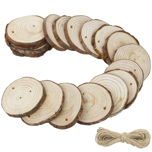 CEWOR 36pcs 2.7-3.1 Natural Wood Slices with Holes Craft Wood and 33Ft Jute Twine