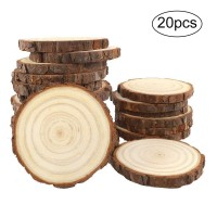CEWOR 20pcs 3.9 Inches - 4.7 Inches Natural Wood Slices with Tree Bark for Christmas Rustic