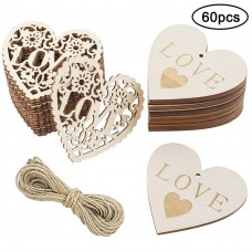 CEWOR 60pcs Wooden Heart Shaped Slices with Twine, 3.15 Inch Wood Heart Embellishments DIY Craft for Valentine's Day Wedding Decorations, 2 Styles
