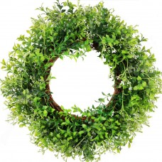CEWOR Artificial Green Leaves Wreath Boxwood Eucalyptus Wreath Spring Wreath for Front Door Wedding Wall Home Decor