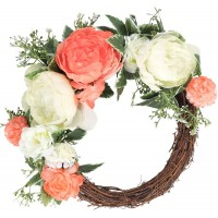 CEWOR Artificial Peony Flower Wreath with Eucalyptus Leaves Front Door Wreath for Spring Season Party Wedding Home Decoration
