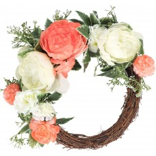 CEWOR Artificial Peony Flower Wreath with EucalyptusLeaves Front Door Wreath for Spring Season Party Wedding Home Decoration