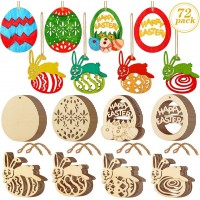 CEWOR 75pcs Easter Wooden Ornaments Easter Egg and Bunny Shape Wood Slices with Twine for Easter Decorations