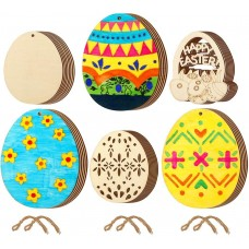 CEWOR 45pcs Easter Egg Wooden Embellishments Hanging Wood Slices Ornament with Twine for Easter Party Decorations, 2 Size
