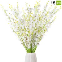 CEWOR Artificial Orchids Flowers 15pcs Silk Fake White Orchids Flowers in Bulk Dancing-Doll Orchid for Indoor Outdoor Wedding Decorations
