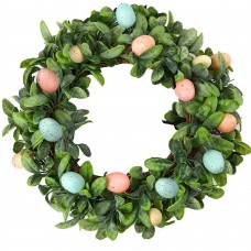 CEWOR 17 Inches Artificial Easter Egg Mixed Wreath Spring Front Door Wreath for Holiday Home Door Wall Decoration
