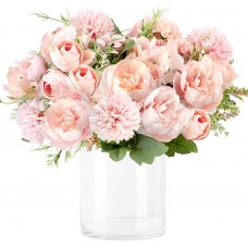CEWORS Artificial Flowers Silk Hydrangea Fake Peony Camellia Bouquet Flowers Leaf Arrangements Wedding Floral Decoration Table Centerpieces, Pack of 3 (Champagne Pink and White)