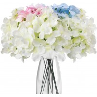 CEWORS 17pcs Artificial Hydrangea Flowers Heads with Long Stems Fake Silk Flowers for Wedding Centerpieces Bouquets DIY Floral Decor Home Decoration Party (Off White, Light Pink, Blue)