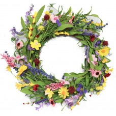 CEWOR 20 Inches Lavender Daisy Flower Door Wreath with Springtime Faux Flowers and Berris Front Door Wreath for Spring and Summer Indoor Outdoor Decoration