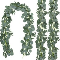 CEWOR 3 Pack Artificial Eucalyptus Garland with Willow Leaves Hanging Greenery Garland for Wedding Indoor Outdoor Decoration