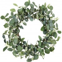 CEWOR 19 Inches Artificial Green Leaf Eucalyptus Wreath Spring Summer Outdoor Ornaments for Front Door Wall Window Party Decor