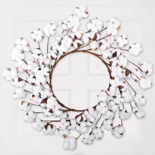 Cewor 26 Inch Real Natural White Cotton Christmas Vintage Wreath For Front Door